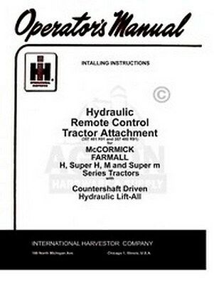 Farmall Hydraulic Remote Control M Md Mv Mdv Sup Manual