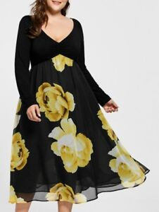 Empire Waist Floral Plus Size Midi Dress - Yellow