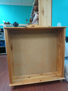 Pegboard retail display wooden hutch