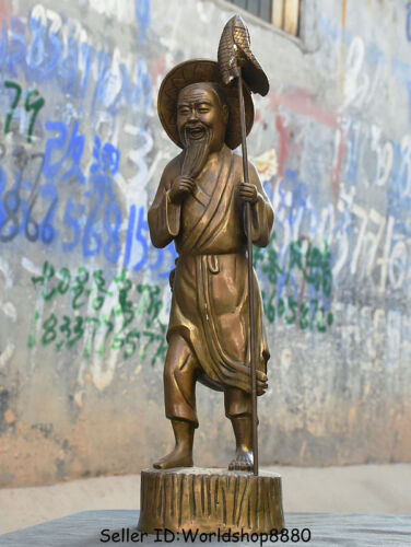 """16.8"""" Antique Chinese Bronze Copper Stand Old Man Fish fisherman fisher Statue"""
