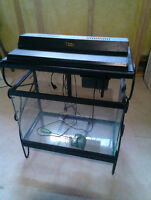 Fish tank with steel stand and accessories $30