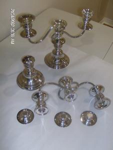Silver Plated 3 Head Candle Holder   Candélabre 3 Tête Plaqué