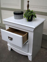 1 MODERN WHITE NIGHTSTAND -SMALL ANTIQUE BENCH