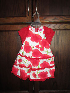 Girls 2pc red pattern dress in size 6/9months