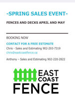 Spring Sales Event Fence and Decks