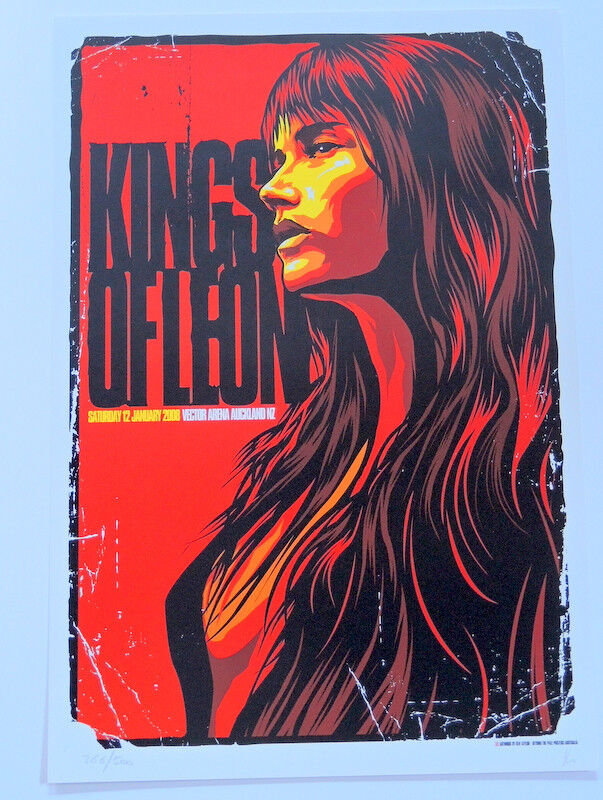 KINGS OF LEON - TOUR POSTER - MECHANICAL BULL - NEW ZEALAND - KEN TAYLOR - 2008