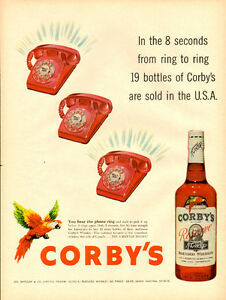 1958 full-page magazine ad for Corby's Reserve Blended Whiskey