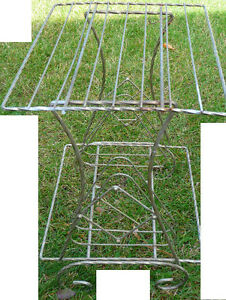 """metal plant stand or other support, $5 - 14""""D x 18""""W x 21""""H"""