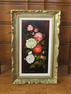 Vintage European Oil Painting - FLOWERS - Artist Luis Gollier