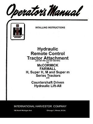 Farmall Hydraulic Remote H Super H M Operators Manual