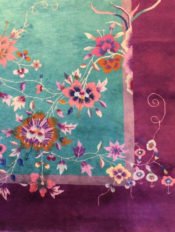 Antique Art Deco - 1930s Art Nouveau Rug - Chinese Oriental Carpet - 9.11 X 11.7