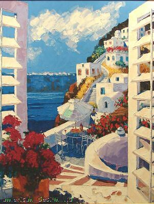 "Barbara Mccann ""view To Santorini"" Framed Signed Numbered Serigraph Canvas L@@k!"