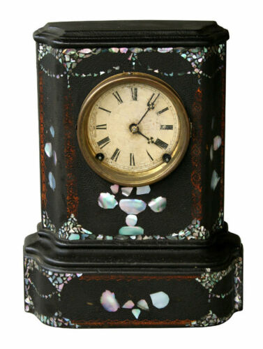 Antique Iron Front, Mother-of-Pearl Clock, 8 Day, circa 1850
