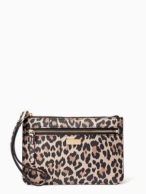 KATE SPADE Shore Street Leopard Tinie Wristlet WLRU4974 NWT