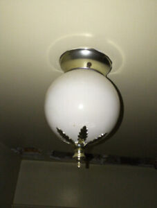 Retro Light Fixture - Indoor, Ceiling, White Ball & Gold Leafs