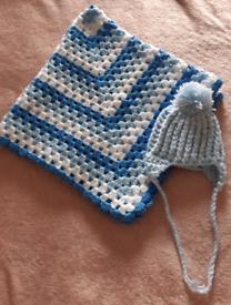 2 Piece Blue Blanket Hat Set