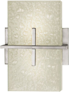 Beautiful Kalco satin nickel & glass wall sconces:  NEW