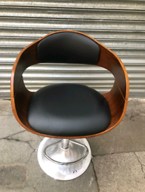 Brand New Leather&Wood Bar Stool with a Metal Base. Height Adjustable