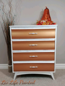 White and copper refinished dresser