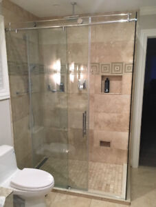 Frame-less Glass Shower with Chrome Hardware
