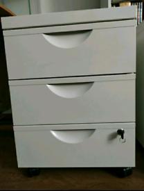 Ikea ERIK Metal Home Office 3 Drawer Filing Cabinet