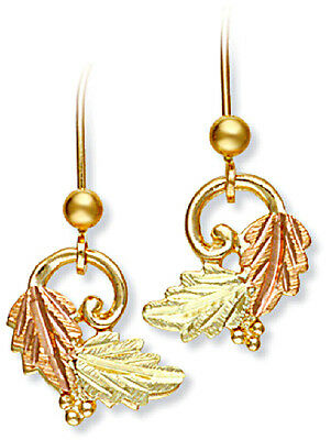 Landstrom's® 10K Black Hills Gold Leaves Earrings with Grape Accent Gold Grapes Accents