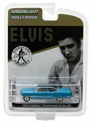 Blue 1955 Cadillac Fleetwood Series 60 Elvis GREENLIGHT DIECAST 1:64  ()