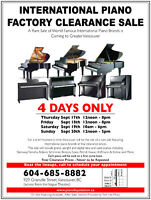International Piano Factory Clearance Sale (Downtown Vancouver)