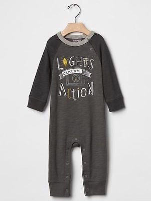 GAP Baby Boys Size 0-3 Months Gray Movie / Camera / Hollywood One-Piece Romper