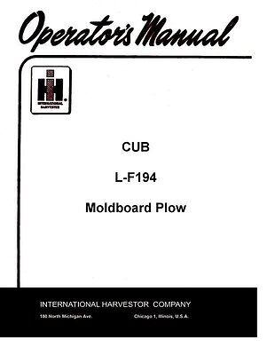 Farmall Cub L-f194 F194 Moldboard Plow Operator Manual