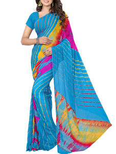 Saree: Turquoise Blue Lehria Saree
