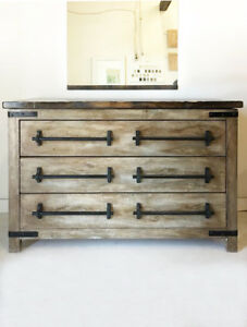 "60"" Rustic Faux Barn wood Vanity with 6 soft-close drawers"