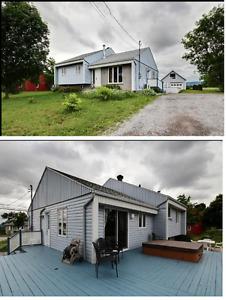 Maison à palier + garage, terrain 17000pc sans voisin arrière