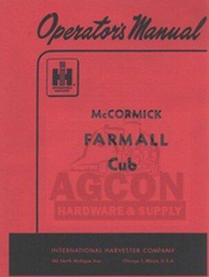 Farmall Cub Tractor Owners Operators Manual Mccormick