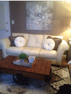 Cindy Crawford leather couch and chair