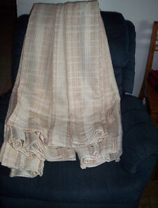 """set of 4 beige drapes panels   pleated top about 25"""" x 82"""" long"""