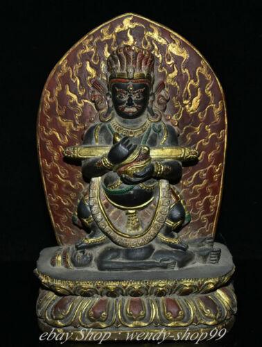 "10"" Old Tibetan Marnyi Stone Painting Mahakala Wrathful Deity Buddha Statue"