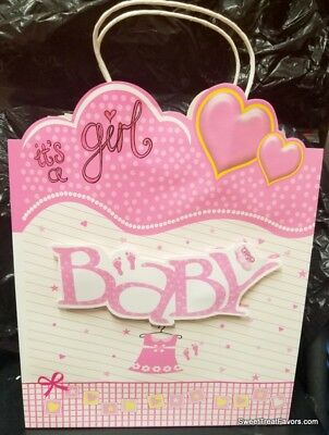 Pink Baby Girl Shower Party SWEET LARGE GIFT BAG 3D Clothesline Birthday 12x10 * ()
