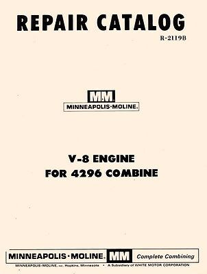 Minneapolis Moline 4296 V-8 Engine Parts Manual Catalog