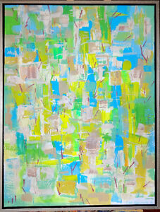 """NEW Large Framed Abstract Painting ORIGINAL Val Koudelka 32""""x42"""""""
