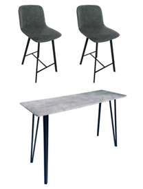 Concrete Effect Table Bar with 2 Bar Stools