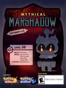 Brand new Mythical Marshadow card with code for Pokemon sun/moon