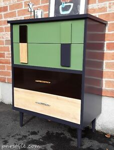 Restyled MID CENTURY MODERN NAVY DRESSER - Free Delivery