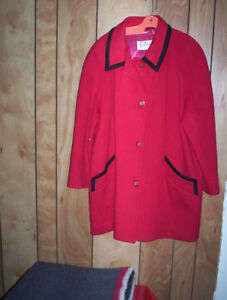 womens vintage winter coat ....  RED .... Made in Canada XXL ?