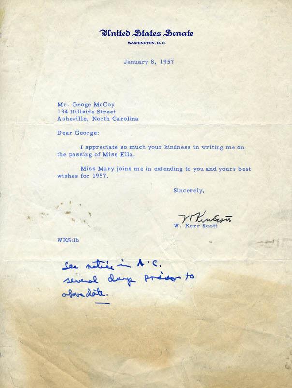 W. KERR SCOTT - TYPED LETTER SIGNED 01/08/1957