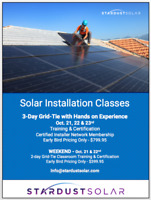 Certified Solar Installation Classes Oct. 21-23 - Stardust Solar