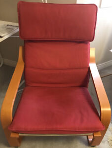 Red, comfortable Chair with extension from Ikea for sale