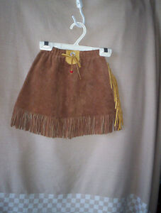 girls 2/3/4 S suede leather cowgirl western skirt brown fringe