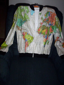 Wearin' The World map Graphic vintage paper jacket XL  1989 mens