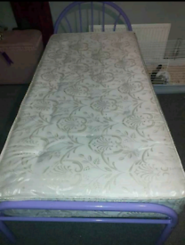 Single bed frame with mattress . Good condition. Delivery available